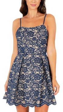 Speechless Juniors' Two-Tone Lace Fit & Flare Dress