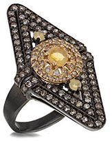 Jade Jagger Women's 925 Sterling Silver Black Rhodium Plated Opals and Pave Diamonds Stellar Ring - Size N