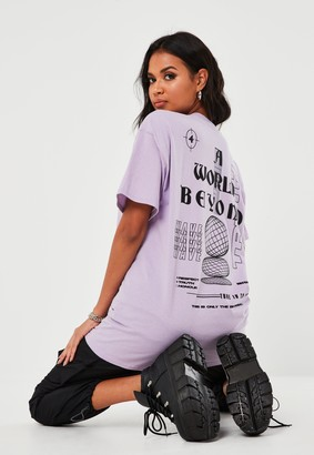 Missguided Rose Orchid World And Beyond Graphic T Shirt