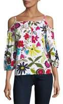 Trina Turk Floral Cold-Shoulder Squareneck Top