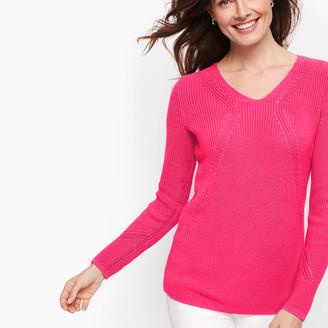 Talbots V-Neck Shaker Stitch Sweater