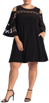 Nina Leonard Jewel Neck Cold Shoulder Dress