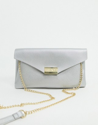 Valentino by Mario Valentino Arpie folderover clutch bag with chain handle in silver