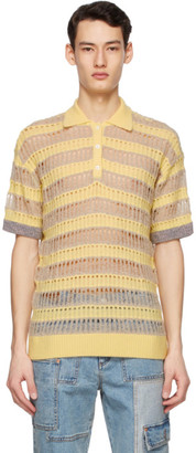 ANDERSSON BELL Yellow and Brown Knit Short Sleeve Polo
