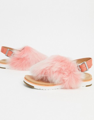 UGG leather holly fur slingback sandals in pink