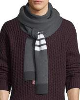 Thom Browne Four-Stripe Herringbone Wool Scarf