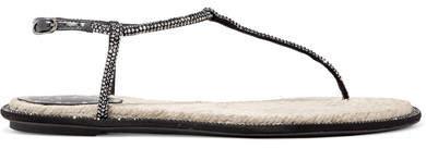 Rene Caovilla Diana Crystal-embellished Leather Sandals - Black