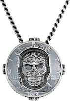 King Baby Studio Liberty Half Dollar Pendant Necklace w/ Carved Baroque Skull Necklace
