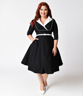 Unique Vintage Plus Size 1950s Style Black & Ivory Three-Quarter Sleeve Avenue Swing Dress