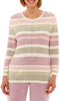 Alfred Dunner Winter Garden Long Sleeve Crew Neck Layered Sweaters