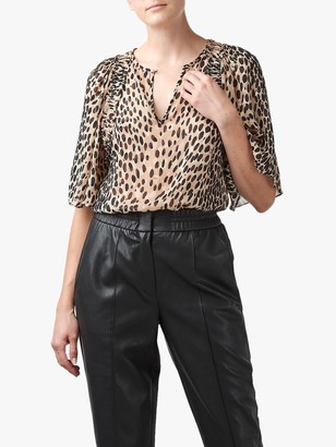 Rebecca Taylor Silk Blend Pebble Leopard Flutter Sleeve Blouse, Gold