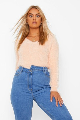 boohoo Plus Feather Knitted V Neck Jumper