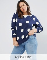 Asos Sweatshirt In Polka Dot With Stripe Tipping