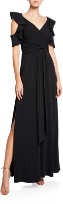 Halston Flutter-Sleeve Cold-Shoulder V-Neck Jersey Gown