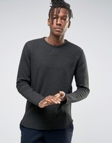 Selected Crew Neck Sweat with Curved Hem