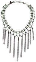 Erickson Beamon Chain Fringe Aventurine Bead Necklace