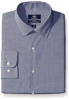Dockers Navy Gingham Check Fitted Shirt - Spread Collar