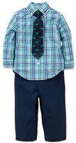 Little Me Baby Boys Plaid Shirt, Whale Tie and Pants Set