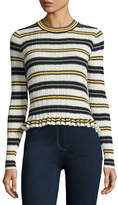 Derek Lam 10 Crosby Striped Crew Neck Combo Sweater, Blue Pattern