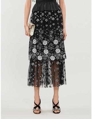 Self-Portrait Sequin-embellished tulle midi skirt