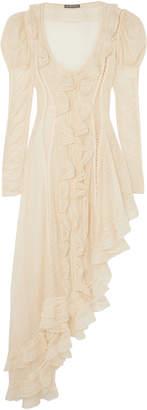 Alexander McQueen Asymmetric Ruffled Silk Mini Dress
