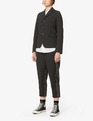 Black Comme Des Garcon Striped puff-sleeved woven and knitted blazer