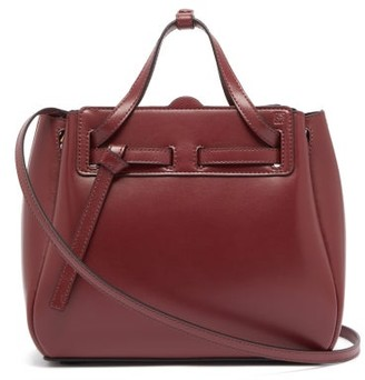 Loewe Lazo Mini Leather Tote Bag - Womens - Burgundy
