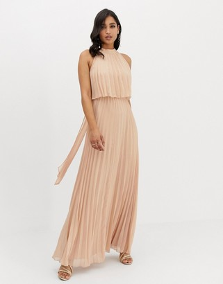 Asos DESIGN halter tie neck maxi dress in pleat
