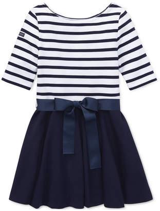 Polo Ralph Lauren Toddler Girls Striped Jersey-Ponte Knit Dress