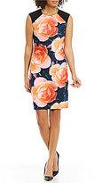 Calvin Klein Cap-Sleeve Bold Floral Sheath Dress