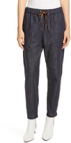 Brunello Cucinelli Monili Side Stripe Denim Track Pants