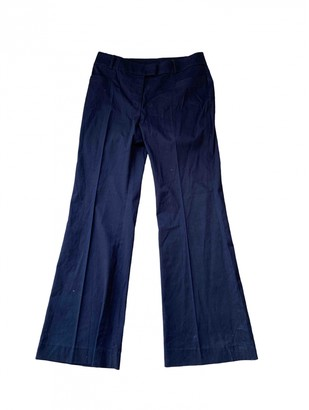 Hobbs Navy Cotton Trousers for Women