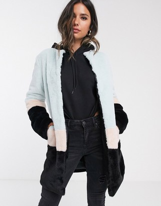 Barneys New York faux fur coat in pastel color block
