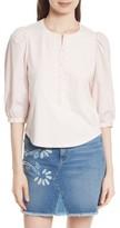 Rebecca Taylor Women's Poplin Sleeve Jersey Top