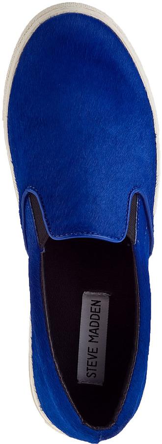 Steve Madden Ecentric Slip-on Sneaker Black Hair Calf