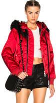 Unravel Bomber Fur Hooded Jacket in Red.