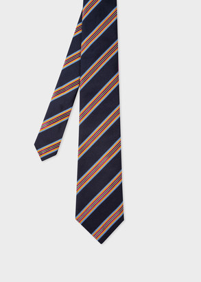 Paul Smith Men's Dark Navy Stripe Cotton-Silk Tie