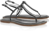 Links leather and chain T-bar sandals