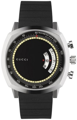 Gucci Stainless Steel Rubber Strap Chronograph Watch