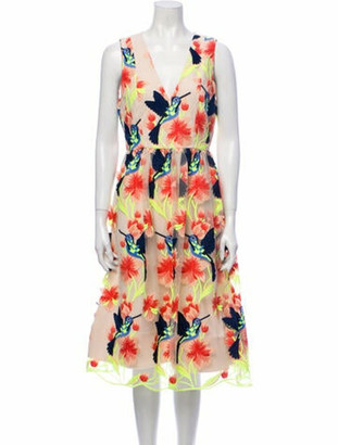 Alice + Olivia Floral Print Midi Length Dress