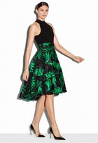 Milly Couture Floral Fil Coupe Deep Pleat Skirt