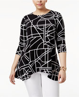Alfani Plus Size Printed Trapeze Top, Created for Macy's