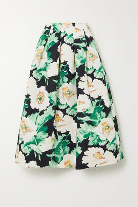 Oscar de la Renta Pleated Floral-print Faille Midi Skirt - Green
