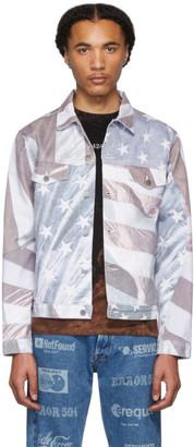 424 Multicolor Denim American Flag Jacket