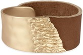 Saachi Style Style Women's Bracelets Camel - Brown Leather & Goldtone Molten Bracelet