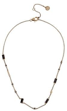 AllSaints Round & Black Baguette Crystal Station Necklace, 16-18