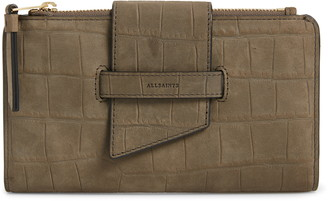 AllSaints Ray Croc Embossed Leather Wallet