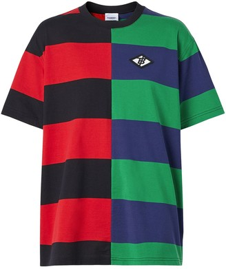 Burberry Contrast Stripe Cotton Oversized T-shirt
