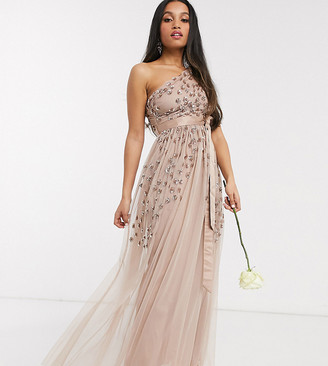 Maya Petite one shoulder embellished maxi dress in taupe blush