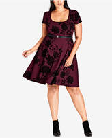 City Chic Trendy Plus Size Birdy Flock Fit & Flare Dress
